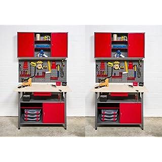 Kreher Werkstatt 8tlg. 2 Werkbänke und 2 Werkzeugschränke mit abschließbaren Türen. Mit zwei Werkzeugwänden sowie passenden Metallhaken. Aus Metall, einbrennlackiert in Rot und Grau.
