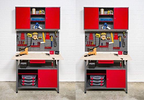Kreher Werkstatt 8tlg. 2 Werkbänke und 2 Werkzeugschränke mit abschließbaren Türen. Mit zwei...
