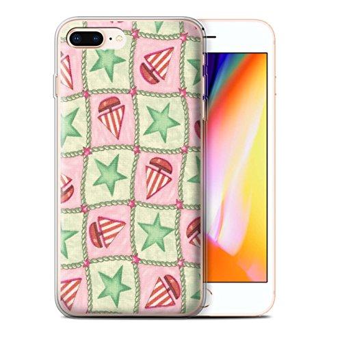 Stuff4 Gel TPU Hülle / Case für Apple iPhone 8 Plus / Pfirsich/Lila Muster / Boote und Sterne Kollektion Grün/Rot