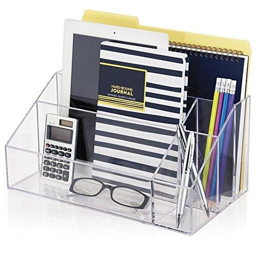 Tisch-Organizer, acryl-metallic, Schreibtisch Organizer, mit 5 Fächern inkl. Haftnotizen, Index Haftstreifen & Scotch Klebeband (Billig Nagellack-organizer)
