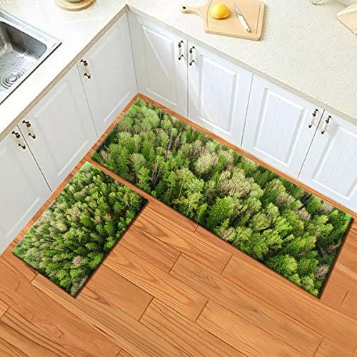 LB 2 Stücke Natur Küchenteppich Grüne Bäume im Wald Fussmatten Läufer Landschaft Teppich Wohnzimmer Schlafzimmer Badezimmer Teppiche,60x40cm + 120x40cm - Natur-badezimmer-teppich