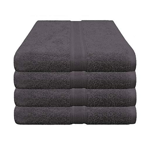 Handtuch schwarz, Restposten im 4er Pack - versandkostenfrei zum Sonderpreis - 4x Handtücher, 30x500 cm, Farbe anthrazit