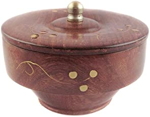 Pindia Wooden Fancy Bowl with Wooden Covering Plate and Free Wooden Spoon