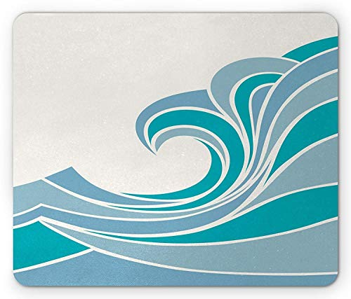 VAICR Mauspad Ocean Mouse Pad,Sea Design with Waves Vintage Curvy Stripes Marine Theme Illustration,Non-Slip Rubber Base,Laser Optical Mouse Compatible,Turquoise Slate Blue White -