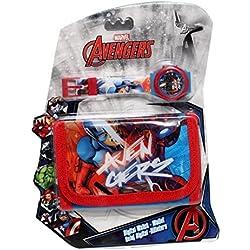 Reloj niño Avengers Iron Man Hulk Capitán América Marvel Comics Plus cartera