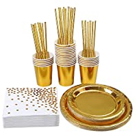 Aneco 146 Pieces Rose Gold Party Supplies Party Tableware Foil Paper Plates Napkins Cups Straws for Weddings, Anniversary, Birthday for 24 Guests Gold