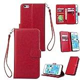 BONROY® Schlichte Einfarbige Hülle für iPhone 6 / 6S (4,7 Zoll) Brieftasche in Lederoptik, Schale mit Karteneinschub, Etui, Buchstil Geldbörse - (HS-einfarbig 9 Karte rot)