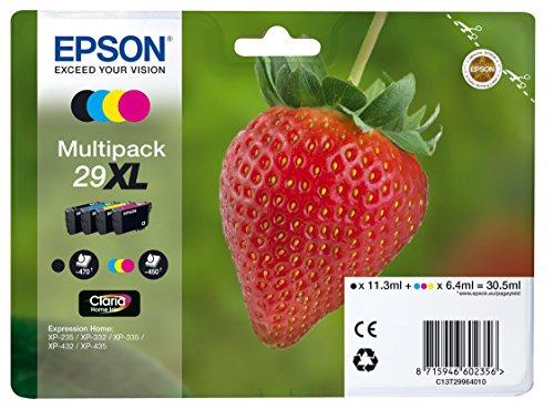epson patronen 29 Epson Original T2996 Erdbeere, Claria Home Tinte XL, Text- und Fotodruck (Multipack, 4-farbig) (CYMK)