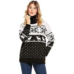 Acevog Mujer Suéter De Punto Nieve Reno Navidad Punto Jerséy Pullover Cuello Alto