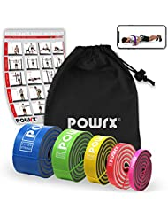 POWRX® Premium Fitnessbänder mit Tasche und virtuellem Trainingsposter - Klimmzug-Band für Calisthenics Workout - Resistance Band/Widerstandsband in versch. Größen