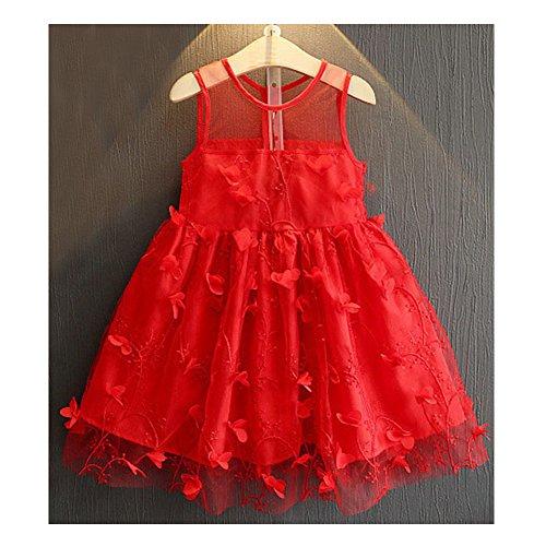 Babykleid Kleinkind Baby Mädchen Blütengürtel Kleid geschichtetes Tüll Tutu Kleid Rot/90cm
