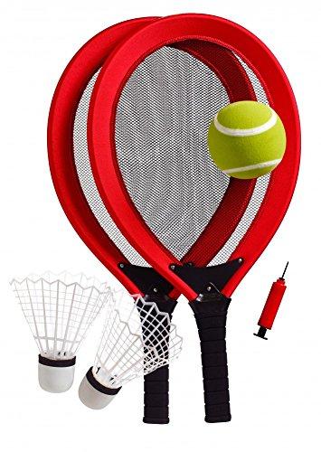 best-sporting-jumbo-tennis-set-2-schlager-1-federball-1-tennisball-ballpumpe-blau-oder-rot-farberot