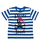 Search : 6-7 years BLUE & WHITE STRIPED PERSONALISED Children's T-Shirt 'PIRATE SKULL AND CROSS BONES' with Black, Red & Silver Print