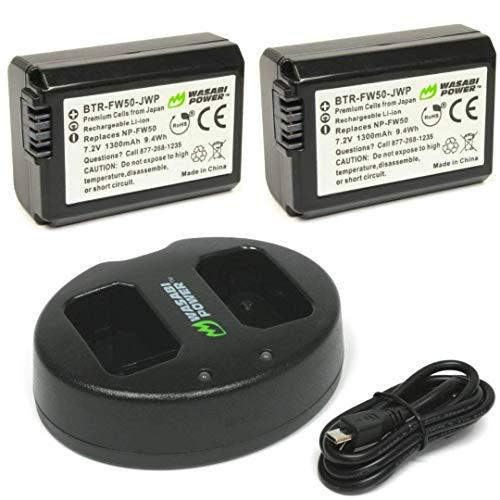 Wasabi Power Akku (2er Pack) und Dual Charger für Sony NP-FW50 (kompatibel mit Alpha a7, a7 II, a7R, a7R II, a7S, a7S II, a5000, a5100, a6000, a6300, a6500, NEX-5T, Cyber -shot DSC-RX10 III und mehr)