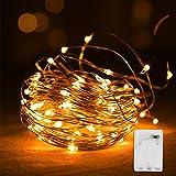 Vegena Luci a LED impermeabili a batteria a filo di rame per stanze, Natale, camerette, esterni, feste e matrimoni 10 m Bianco caldo