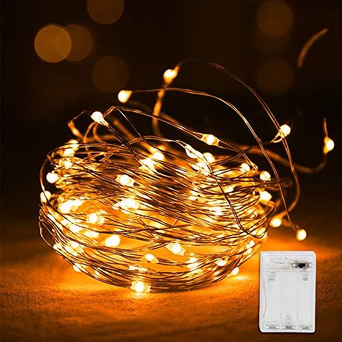 Vegena Led Lichterkette,10M 100 LED Lichterketten Batteriebetrieben Kupferdraht Wasserdicht IP44, Stimmungslichter Lichter für Zimmer, Weihnachten, Kinderzimmer, Außen, Party, Hochzeit,usw Warmweiß