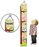 Unbekannt 3-D Meßlatte - aus Holz -  lustige Eule  - zum Klappen / Falten - incl. Name - von 80 cm bis 155 cm - Kinderzimmer - für Kinder Kind - Eulen & Blumen - Holz..