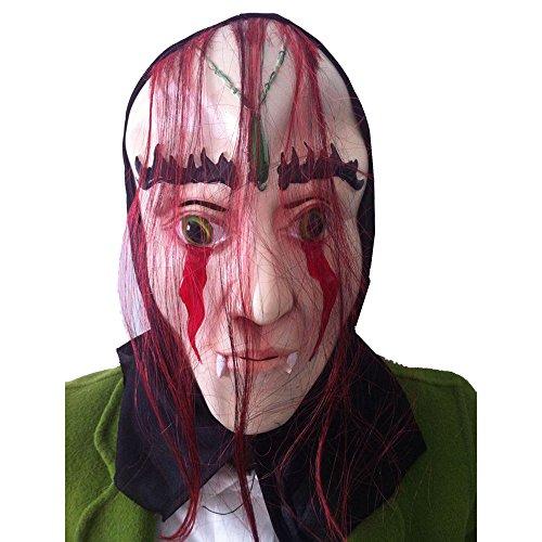 Gothic Machen Braut Kostüm - QHJ Halloween Maske, Halloween Accessoires Blutige Face Off Horror Halloween Kostüm Maske Stelle dich dem blutigen Entsetzen der Halloween Kostümmaske (C)