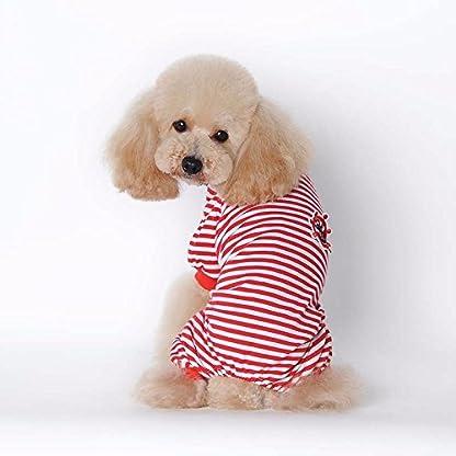 Doggie Style Store Red Striped Dog Pet Cat Pyjamas Sailor Anchor Pajamas Jumpsuit Nightwear Onesie Suit Size S 4