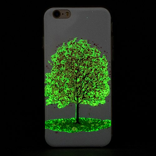 iPhone 6/6S Plus 5.5 Inch Silicone Case,iPhone 6/6S Plus Gel Case,Feeltech [Free 2 in 1 Black Stylus Pen] Luminous Effect Noctilucent Green Glow in the Dark Matte White Ultra Slim Soft Rubber Shock Ab Albero di ciliegio rosa