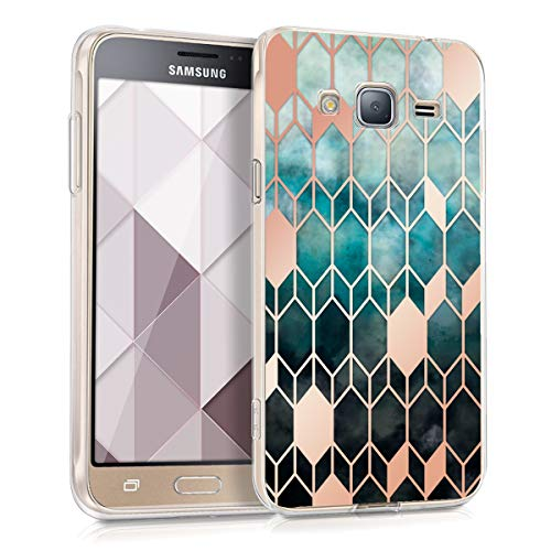 kwmobile Samsung Galaxy J3 (2016) DUOS Hülle - Handyhülle für Samsung Galaxy J3 (2016) DUOS - Handy Case in Blau Rosegold