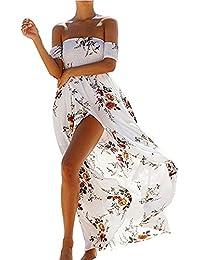 YuanYan Femme Manche Courte Fleur Imprimée Ethniques D'Été Chic Moulantes Robes Longues Boheme Robes De Plage Femme Maternité