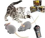 Jun Fernbedienung Maus, Maus Robotic Katze Spielzeug Interaktives Zwei Modi Smart Innen Fun, Fernbedienung braun Ratte Maus Spielzeug für Katze Kätzchen Hund Pet Neuheit Geschenk (1PC gesendet durch zufällige Farbe)