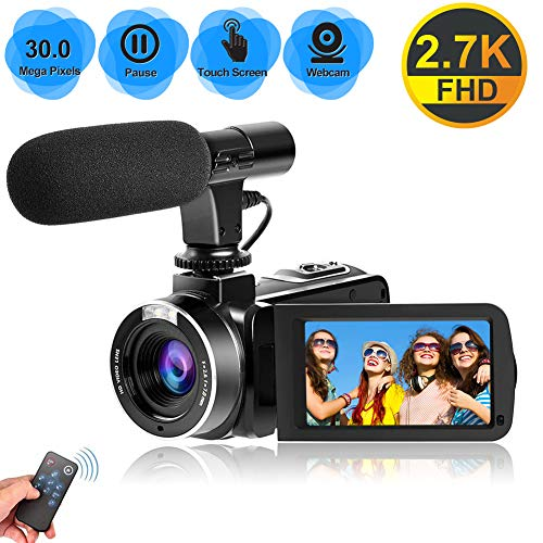Camcorder Videokamera 2.7K Full HD 30 MP Vlogging Kamera für YouTube 18 fache Digitalzoom Camcorder HD mit Mikrofon und 3,0 Zoll IPS Touchscreen