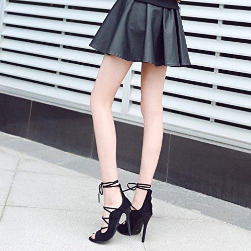 COOLCEPT Femmes Mode Peep Toe Talons hauts Sandales Stylish Dentelle Talon Aiguille Chaussures Noir