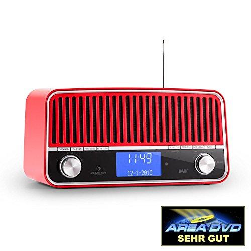 Digital-multiplex-recorder (auna Nizza • Digitaladio • DAB+ / UKW-Tuner • RDS-Funktion • Vintage Look 50er Radio • Bassreflexgehäuse aus lackiertem Aluminium • 2 Breitbandlautsprecher Stereo mit Subwoofer • Bluetooth 2.1 • AUX • Weckfunktion mit 2 Alarmzeiten • Fernbedienung • rot)