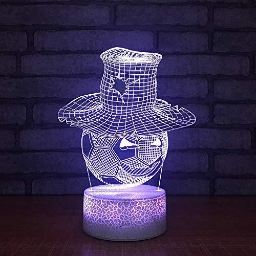 YDBDB Nachtlicht Hut Fußball Nacht Lampe Acryl Board 3D Leuchten neue spezielle Schlafzimmer Großhandel Led Led Usb Kinder Lampe -