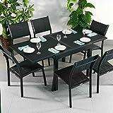 Ruby Tisch & 6 Stühle - SCHWARZ | Gartenmöbel-Set mit ausziehbarem 180cm Tisch