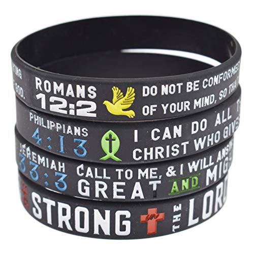 Kesheng 4x Silikon Armband Bibel Verse Christian Schrift Unisex Schmuck Geschenk (Geburtstag Verse Bibel)