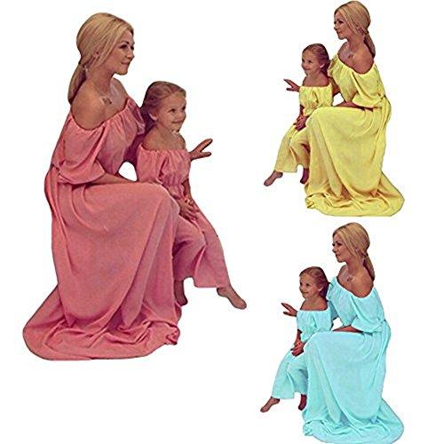 Romacci Damen Chiffon Maxi Kleid Familie Ldentische Kleidung Mutter Tochter Kleid Mama und ich Kleidung Eltern Kinder Langes Kleid Gelb
