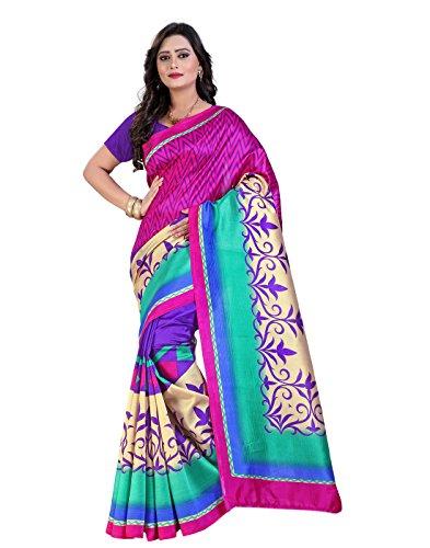 Sarees e-VASTRAM Womens Sarees Art Mysore Printed Silk Saree(NS20P_Pink)