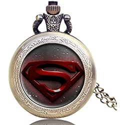 "SUPERMAN Red Logo Antique Bronze Effect Retro/Vintage Case Men's Quartz Pocket Watch Necklace - On 32"" Inch / 80cm Chain"