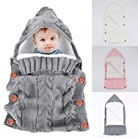 Newborn Baby Swaddle Blanket Wrap Sleeping Bags,Yinuoday Infant Toddler Thick Warm Fleece Knitted Crochet Hooded Swaddle Wrap Sleep Sack Crib Stroller Wrap for 0-12 Month New Update Design (Grey)