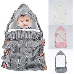 Yinuoday - Saco de dormir con capucha para bebé recién nacido, manta para bebés de 0 a 12 meses, diseño de actualización gris Talla:30''X14''