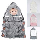 Yinuoday, copertina per neonato in stile sacco a pelo, spessa e calda, in pile e maglia all'uncinetto, con cappuccio, avvolgente, sacco per la nanna, per culla e passeggino, 0-12mesi