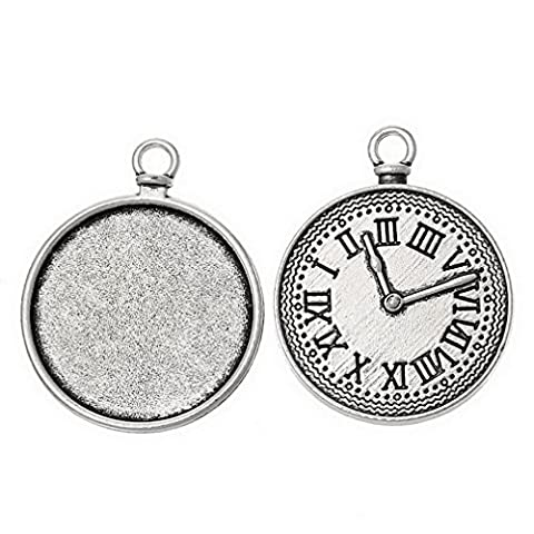 Souarts Antique Silver Color Clock Pattern Round Cabochon Cameo Base Setting Pendant Pack of 30pcs