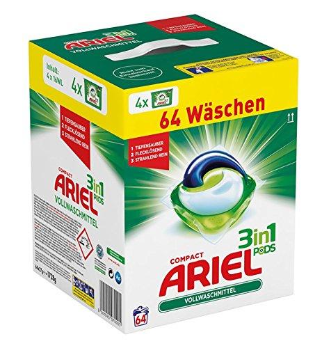 Ariel 3 in 1 Pods Vollwaschmittel, 1er Pack (1 x 64 Waschladungen)
