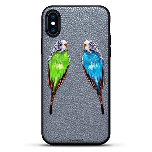 Schutzhülle für iPhone XS/X (5,8 Zoll / 14,8 cm), Leder, Motiv Papageien, Blau/Grün -