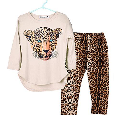 TTLOVE Kind Kleidung Set Kleinkind Mädchen Cartoon Tiger-Print Langarmshirts Tops+ Leopard Hosen Outfit Kostüm 2-12 (Basketball Spieler Kostüm Für Jungen)