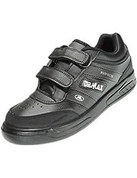 sports shoes 51d31 86773 DEMAX P802 Zapatilla Deportiva Hombre Sneaker Velcro Piel Ancho Piso Llano  Grueso Ligero