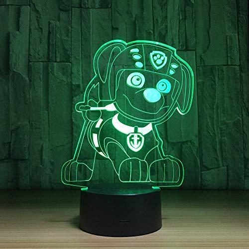 WJPDELP-YEDE Pat Canine Chiot Chien 3D LED Nuit Lampe USB Veilleuse Enfants Cadeaux Coloré Dessin Animé Animaux Canina Luminaria pour Enfants Jouets