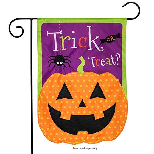 (ASKYE Jack O Lantern Halloween Applique Garden Flag Holiday for Party Outdoor Home Decor(Size: 12.5inch W X 18 inch H))