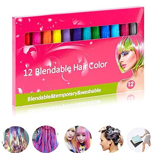 Dbscd set di gessetti per capelli colorati 12 colori non tossici che si lavano facilmente per adulti, bambini e bambini idea regalo perfetta