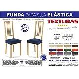 LA CASA TEXTIL - Pack-2 Fundas de silla elástica Túnez, Slipcover, Strech Chair Cover (Maril)