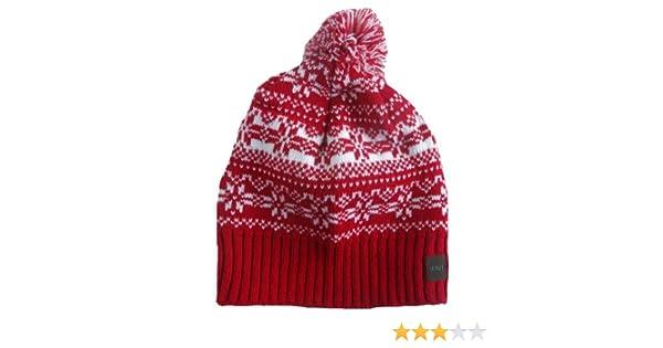 c968d68d077 STYLE MIXX Mens Ladies Fair Isle New York Bobble Beanie Hat Wooly Knitted  Ski Pom Pom Hat (RED FAIRISLE)  Amazon.co.uk  Clothing