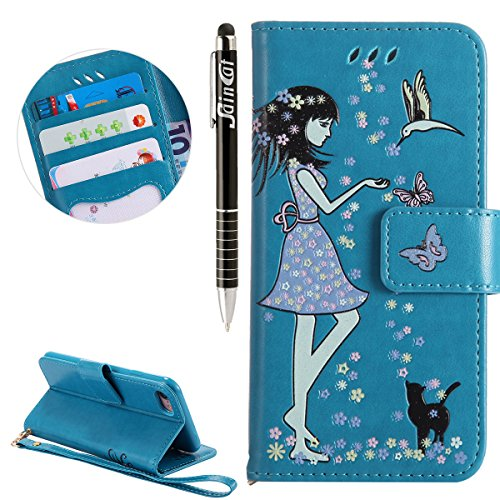 Custodia iPhone 7, iPhone 7 Cover Wallet, SainCat Custodia in Pelle Flip Cover per iPhone 7/8, 3D Creativa Design Ultra Sottile Anti-Scratch Book Style Custodia Morbida Cover Protettiva Caso PU Leathe Blu